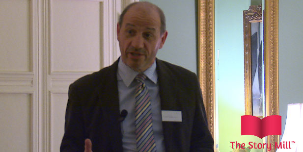 Neil Dikinson of Dice Medical Communications talks at the launch of The Story Mill